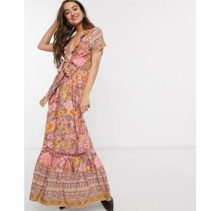 ASOS Sisters of the tribe deep plunge maxi dress